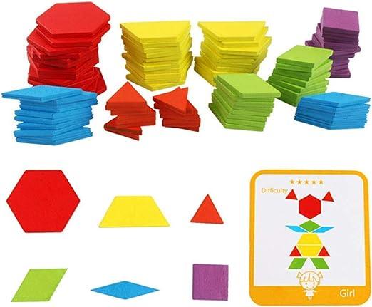 Iq Patrón Puzzle Caja Madera Bloques Montessori Niños Formas Disección: Amazon.es: Jardín