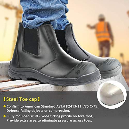"ROCKTURTLE Steel Toe Work Boots for Men, Black Waterproof Slip on Safety Boot, 6"" Comfortable Slip Resistant Men's Working Shoes 8 10.5"