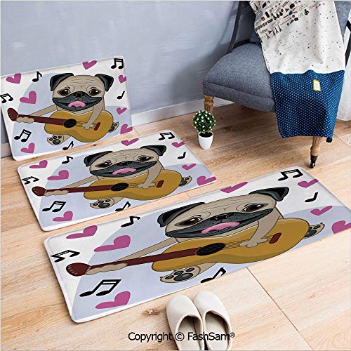 FashSam 3 Piece Flannel Doormat Pug Dog Playing Guitar Singing with Cute Pink Hearts Funny Animal Cartoon Decorative for Kitchen Rugs Carpet(W15.7xL23.6 by W19.6xL31.5 by W35.4xL62.9)