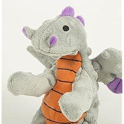 goDog Dragon With Chew Guard Technology Tough Plush Dog Toy, Gray, Small