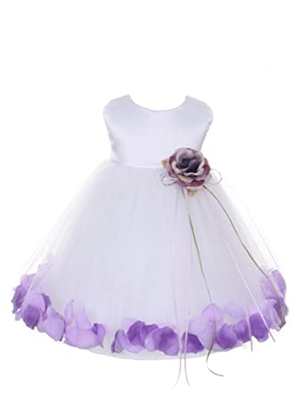 17453cc7b1a Image Unavailable. Image not available for. Color  Petals White Satin Satin  Tulle Wedding Flower Girl Dress ...