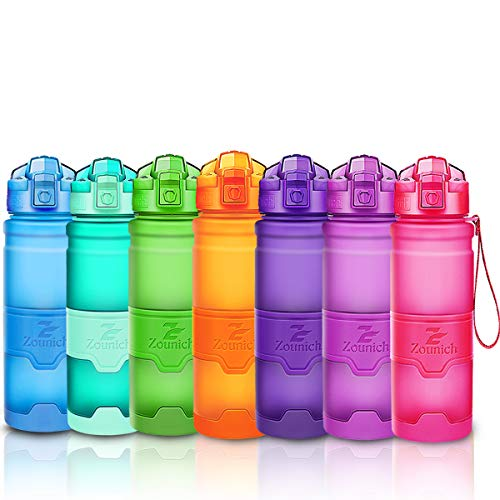 ZOUNICH Botella Agua Deporte Botellas Agua Ninos sin BPA, Reutilizable Tritan Plastico Ecologica con Filtro, 400ml/500ml700ml/1l, Cantimploras para Gimnasio, Bicicleta, Colegio, Oficina, Viajes