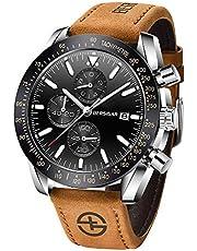 BERSIGAR Herren Geschäft Beiläufig Chronograph Wasserdicht Quarz-Armbanduhr (Braun blau 2)