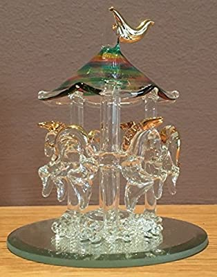 Blown Glass Carousel with Three Horses Figurine Collectible 3.75 Inches High