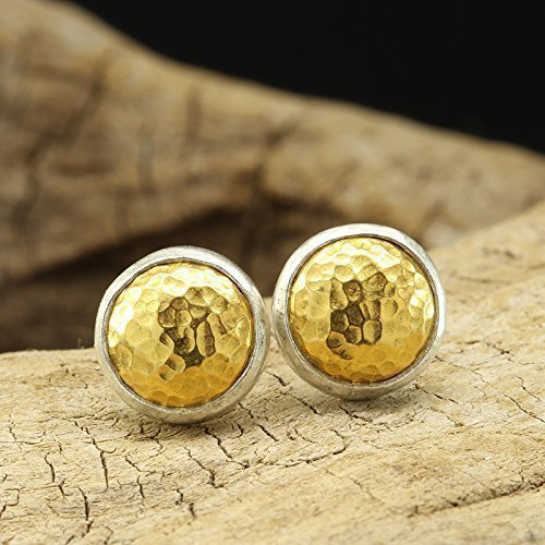 Dome Pebble Stud Earrings 925 Solid Sterling Silver 24K Yellow Gold Vermeil Handcrafted Hammered Two-tone Artisan Earrings