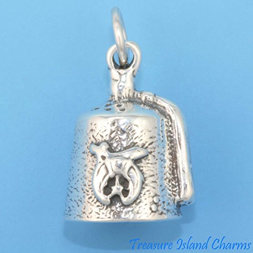 Shriners Shriner FEZ HAT Tarboosh Freemasonry 3D 925 Solid Sterling Silver Charm Ideal Gifts, Pendant, Charms, DIY Crafting, Gift Set from Heart by Wholesale Charms ()