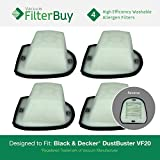 4 - Black and Decker VF20 Washable HEPA DustBuster Filters, Part #VF20, 499739-00. Designed by FilterBuy to fit Black & Decker Double Action V series DustBusters Hand Vac