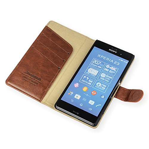 QIOTTI QX-B-0040-01-SXZ4 Booklet Q.Book Classic Premium Eco Faux Leather für Sony Xperia Z4 braun