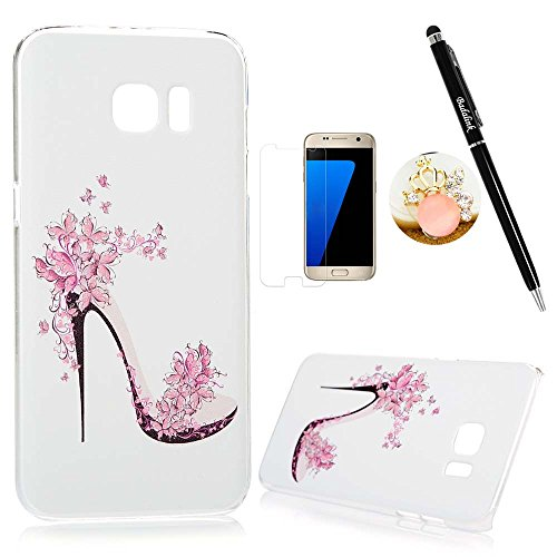 Price comparison product image Samsung Galaxy S7 Edge Case Clear Colorful Case Cute Pink Flowers High-heeled Shoe Design Ultra Slim-Fit Easy Makeup PC Bumper Cover & HD Screen Protector Diamond Dust Plug Stylus Pen by Badalink