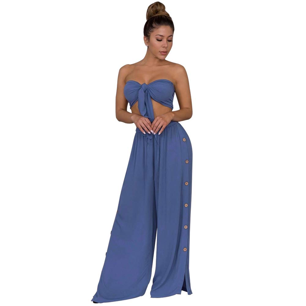 Salimdy Women Sexy 2 Piece Outfits Bandage Crop Top Wide Leg Long Pants Solid JumpsuitsBlue Large