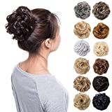 Scrunchy Updo Wavy Straight Hair Bun Clip Messy Donut Chignons Synthetic Hairpiece Hair Extension (medium brown-thicker)