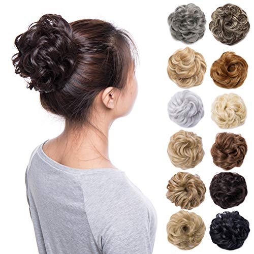 Bun Hair Extension - Scrunchy Updo Wavy Straight Hair Bun Clip Messy Donut Chignons Synthetic Hairpiece Hair Extension (medium brown-thicker)