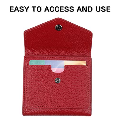 Lavemi RFID Blocking Small Compact Mini Bifold Credit Card Holder Leather Pocket Wallets for Women with Quick access ID Slot(3-Pebbled Dark Red)