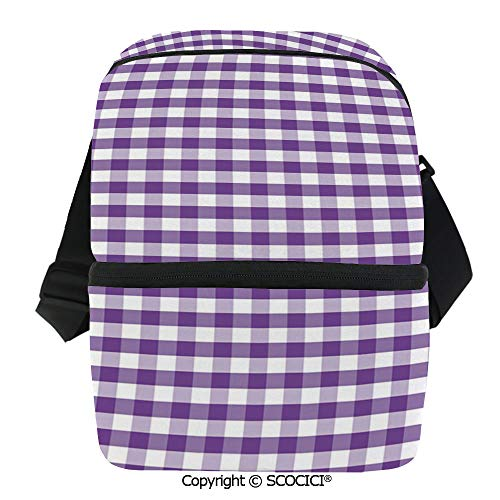 SCOCICI Collapsible Cooler Bag Purple and White Colored Gingham Checks Rows Picnic Theme Vintage Style Print Decorative Insulated Soft Lunch Leakproof Cooler Bag for Camping,Picnic,BBQ