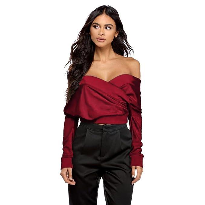 Blusa de mujer, ❤ fuera del hombro Sexy sujetador de manga larga con cuello