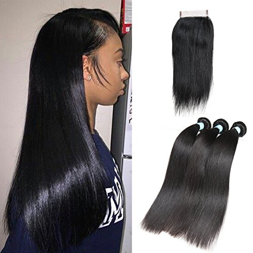 "Price comparison product image BLY Brazilian Straight Hair 3 Bundles With a Free Part Lace Closure Unprocessed Human Virgin Hair Bundles Natrual Black(16""18""20""with 14"")"