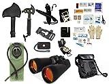 Survival Camping Hiking Kit: Emergency First Aid, 20X70 Binoculars Ruby,Sharpener, Axe, Fire Starter Blade, Whistle Flint Striker Belt Buckle, Hydration Bladder, Multi Tool, Compass, Signal Mirror