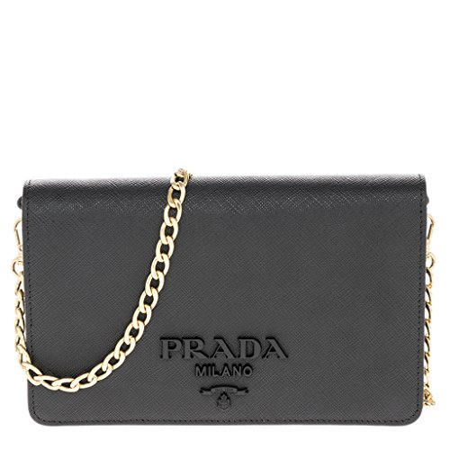 Prada Women's Saffiano Leather Wallet Bag Black