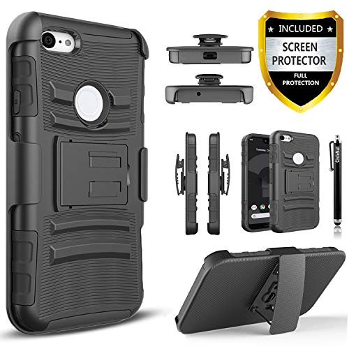Google Pixel 3 Case, Pixel 3 Case, With [Premium Screen Protector Included], [Not Fit Pixel 3 XL] Circlemalls Built-in Kickstand And Heavy Duty Belt Clip Holster Phone Cover With Stylus Pen-Black