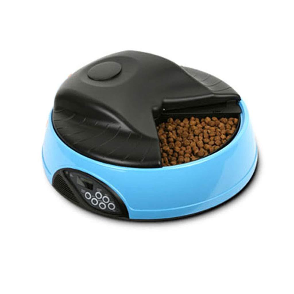 ペットフードボウル 自動ペットフィーダー、個別コンパートメント4食事フードトレイセーフティロックプログラムフィーダーペット ペットダイエット水 (Color : 青) 青