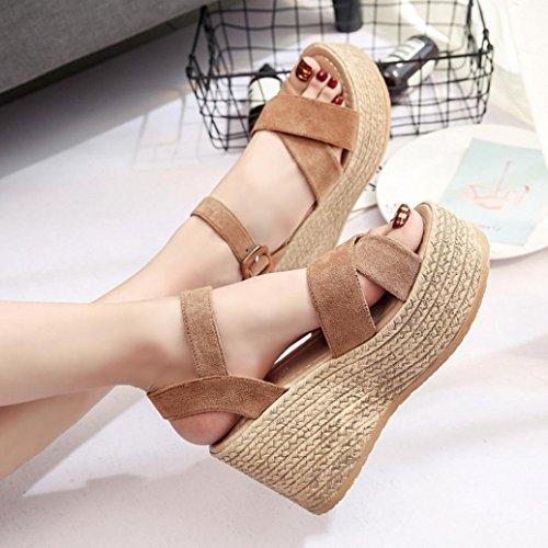 para Mujer Playa Mujer Sandalias Zapatos Casual Alto Chanclas Fiesta de Marrón Verano Alpargata Plataforma Vestir de Tacón Sandalia Baño de zxRn4vAx