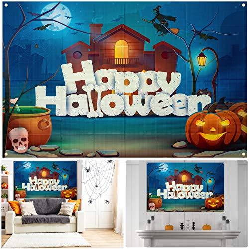Really Scary Halloween Backgrounds (Biubee Halloween Photo Backdrop Banner-Scary House Jack-o-Lantern Skull Witch Bats Happy Halloween Backgrounds Halloween Photo Booth Backdrop for Photography Halloween Party Decorations (6.0 × 3.8)