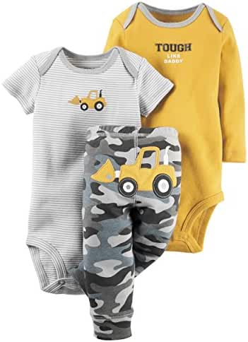 Carter's Baby Boys' 3 Piece body suit and pants (Short Sleeve) Set
