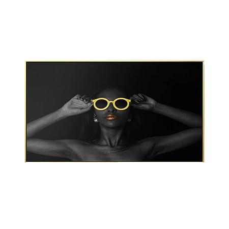 RuYun Pintura Moderna de la Lona Mujer Gafas de Sol Rojas ...