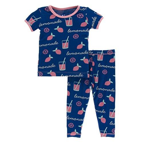 Kickee Pants Print Short Sleeve Pajama Set Pink Lemonade (3T) - Kicky Pants Girl