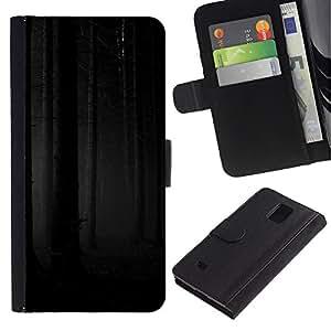 Billetera de Cuero Caso Titular de la tarjeta Carcasa Funda para Samsung Galaxy Note 4 SM-N910 / Forest Woods Grey Black Scary / STRONG