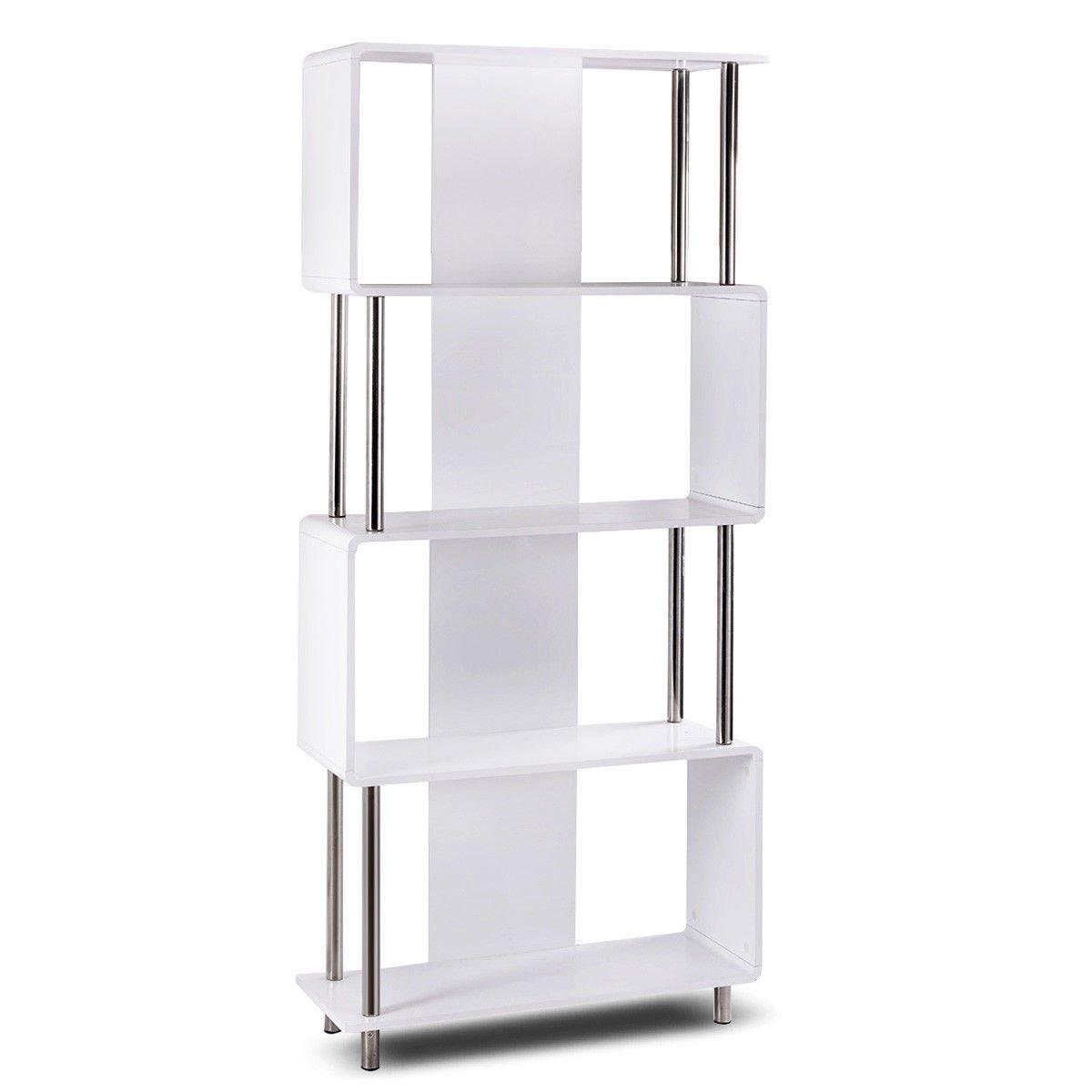 FDInspiration White MDF 4 Storage Shelf Display Unit Bookshelf w/Geometric Shape by FDInspiration