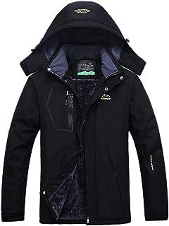 Clispeed Giacche da Sci Antivento Neve Inverno Impermeabile Addensare Moda Cappotto Giacca con Cappuccio Caldo Casual Parka per Gli Uomini Taglia 4XL (Nero)