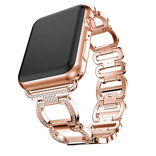 Price comparison product image Buybuybuy For Apple Watch 4 Band 44mm&40mm,  luxury crystal rhinestone diamond stainless steel watch bands for Apple Watch Series 4 Apple Watch Series 3 / 2 / 1 (Rose Gold,  Apple Watch Series 4 40mm)