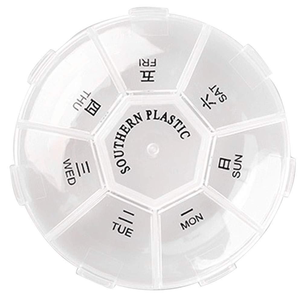 2 Pz 7 Giorni Pillola Settimanale Astuccio da Posto di Lavoro Tablet Holder Dispenser Medicina Dispenser Storage Round Pill Box Bianco