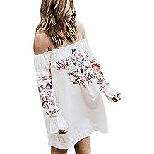 Women Dress,IEason Hot Sale! Fashion Women Floral Dress Ladies Summer Beach Party Off Shoulder Mini Dress (XL, White)