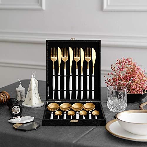 of Dinnerware Sets 16pcs 18/10 Stainless Steel Steak Knife Fork kitchen silverware Dinnerware White Gold Cutlery Set With Gift Box Drop Shipping Zallada Flatware ()