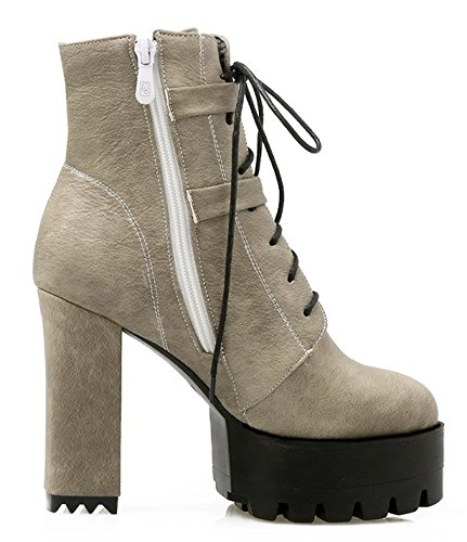 Aisun Womens Fashion Inside Zip Lace Up Chunky High Heel Dressy Short Boots Round Toe Platform Ankle Booties Gray ak6N4aI8S