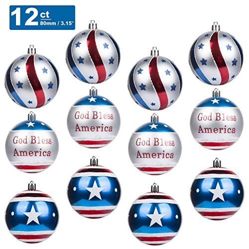 KI Store Patriotic Ball Ornaments Set of 12 Large Christmas Tree Balls American Flag Decorations for Independence Day Christmas Party Bonus 6 United States Flag