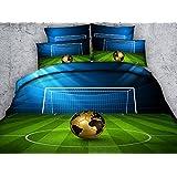 Newrara 3d Digital Boys Bedding 3D Soccer Ball in front of Goal Printed Cotton 4-Piece Duvet Cover Sets (Full, Green)