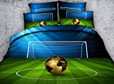 Newrara 3d Digital Boys Bedding 3D Soccer Ball in front of Goal Printed Cotton 4-Piece Duvet Cover Sets (Queen, Green)