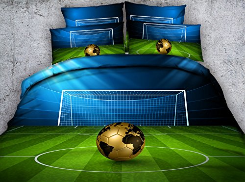 Newrara 3d Digital Boys Bedding 3D Soccer Ball in front of Goal Printed Cotton 4-Piece Duvet Cover Sets (Queen, Green) by Newrara