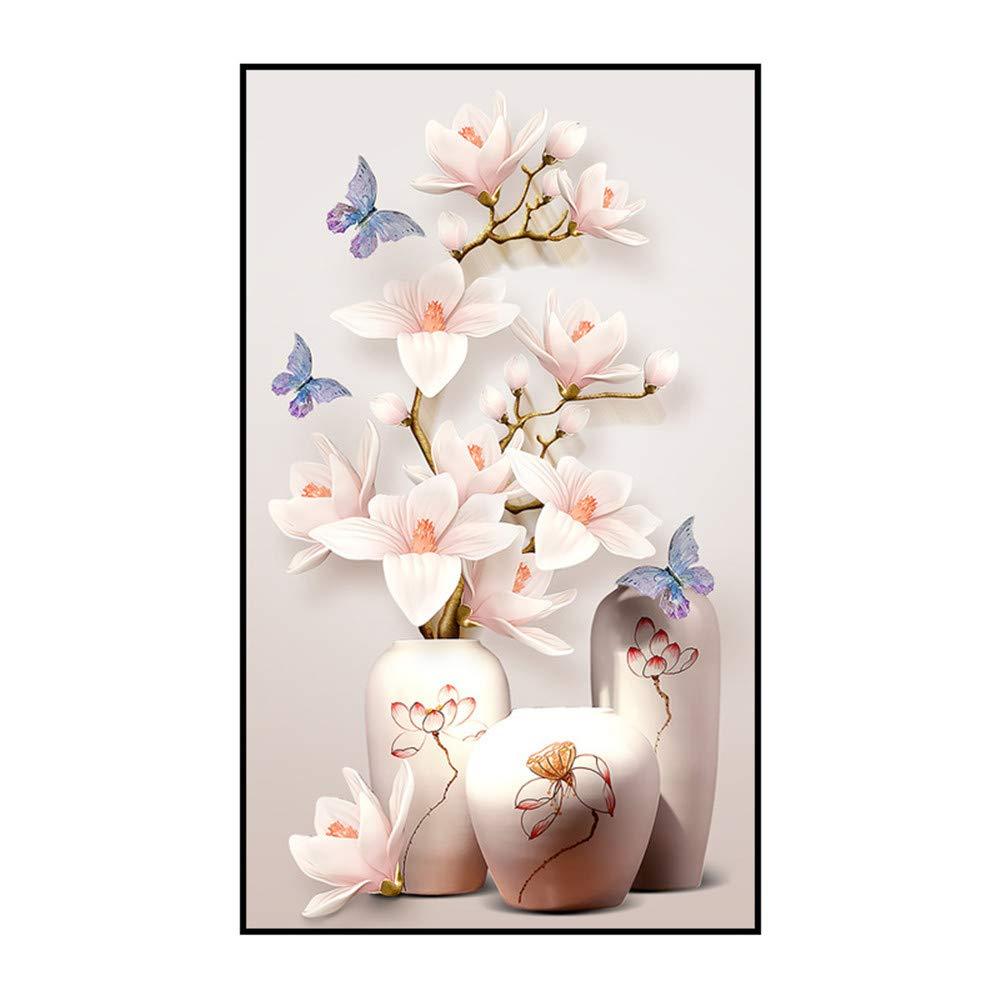 John Novais Trayosin 5D Diamond Painting Full Drill Butterflies Magnolia Vase DIY Arts Craft for Home Wall Decor by John Novais