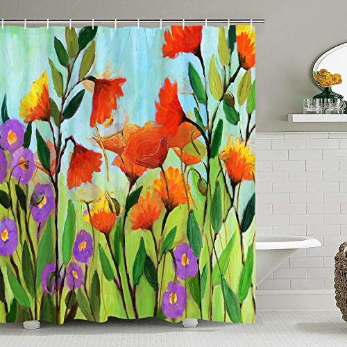 BLEUM CADE Vintage Shower Curtain Water Color Print Bathroom Curtain Abstract Flowers and Leaves Bathroom Decor Set Bathroom Accessory with -