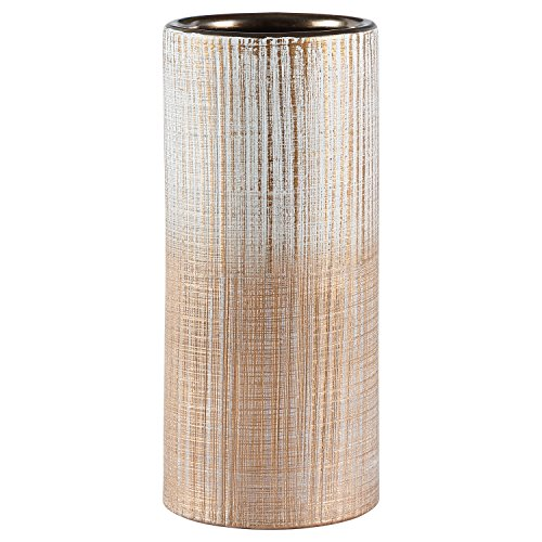 Rivet Rustic Cylinder Crosshatch Indoor Outdoor Flower Plant Home Decor Vase - 9 Inch, Bronze (Standing Glass Large Floor Vases)