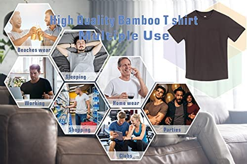 Plain Pocket Bamboo T Shirts for Men – Short Sleeve Crew Neck Cool Casual Workwear T-Shirts