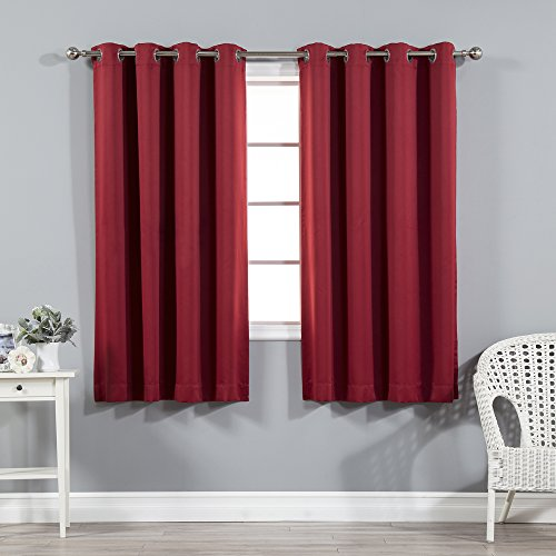 Cardinal Design - Best Home Fashion Premium Thermal Insulated Blackout Curtains - Stainless Steel Nickel Grommet Top - Cardinal Red - 52