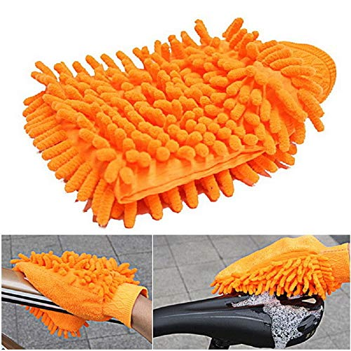 New Assorted Color Car Cleaning Microfiber Waterproof Chenille Gloves Multifunction Hand Towels (Orange)