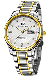 TSS Men's T8018H1 Automatic Two Tone Watch with Stainless Steel Band