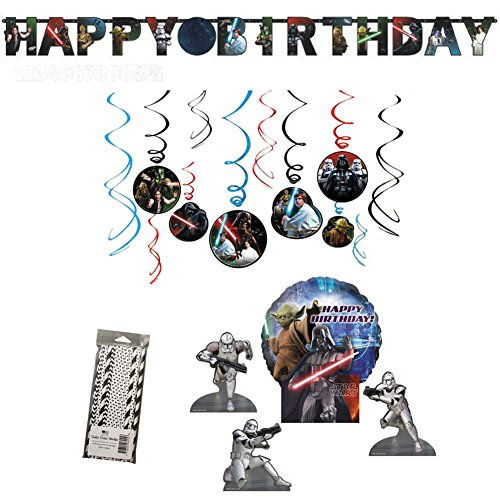 Classic Star Wars Birthday Decoration Party Supplies Pack: Straws, Banner, Centerpieces, and Hanging Swirls