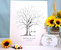 Fingerprint Tree custom wedding guestbook - Original thumbprint guest book alternative (Medium Size Ink) includes 2 ink pads!!
